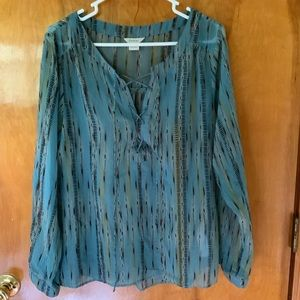 Arian Sheer Long-Sleeve Tie Front Tunic Large